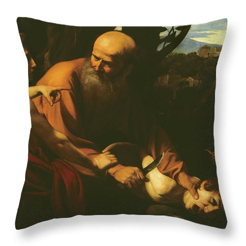 Caravaggio Throw Pillow featuring the painting The Sacrifice Of Isaac by Caravaggio