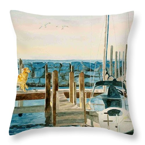 Sailboats Throw Pillow featuring the painting The Sailmate by LeAnne Sowa