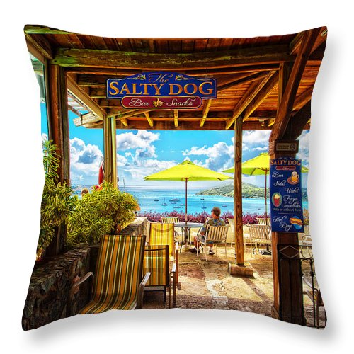The Salty Dog Cafe Throw Pillow featuring the photograph The Salty Dog Cafe St. Thomas by Keith Allen