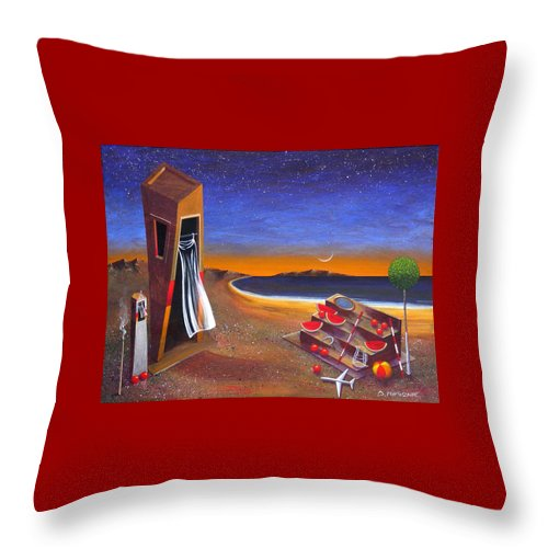 Landscape Throw Pillow featuring the painting The School Of Metaphysical Thought by Dimitris Milionis