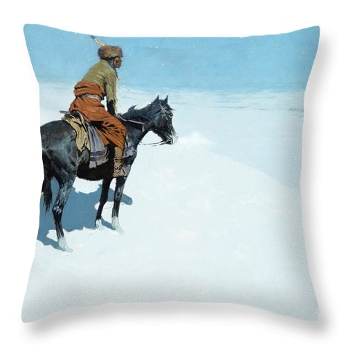 The Scout Throw Pillow featuring the painting The Scout Friends or Foes by Frederic Remington