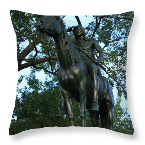 Statue Throw Pillow featuring the photograph The Scout Kansas City Missouri by David Dunham