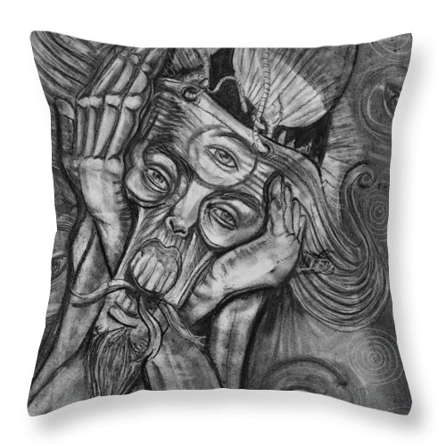 The Scream Throw Pillow featuring the drawing The Scream by Americo Salazar
