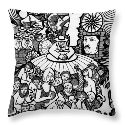 Drawing Throw Pillow featuring the drawing The Sea Was Conquered The Empire Undone by Jose Alberto Gomes Pereira