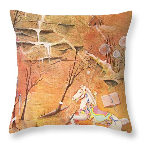 Fantasy Throw Pillow featuring the painting The Search For The Brass Ring by Jackie Mueller-Jones