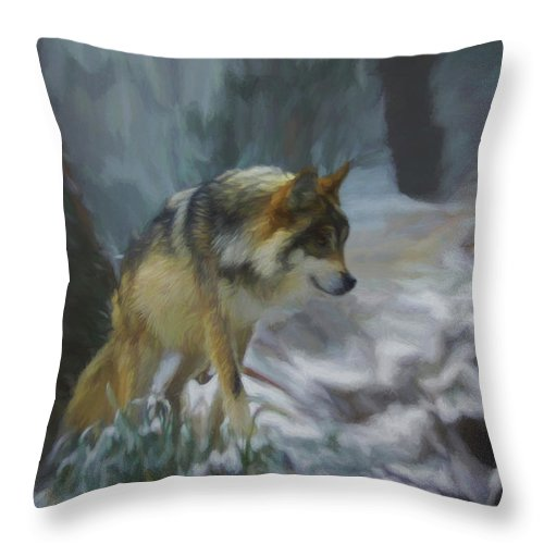 Wolf Throw Pillow featuring the digital art The Searching Wolf by Ernie Echols