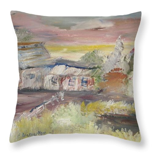 Landscape Throw Pillow featuring the painting The Seaside Ranch by Edward Wolverton
