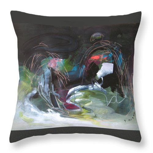 Abstract Throw Pillow featuring the painting The Secret Of The Shadow Original Abstract Colorful Landscape Painting For Sale Red Blue Green by Seon-Jeong Kim