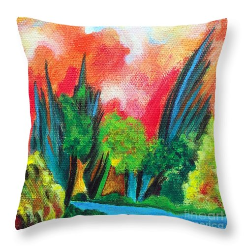 Landscape Throw Pillow featuring the painting The Secret Stream by Elizabeth Fontaine-Barr