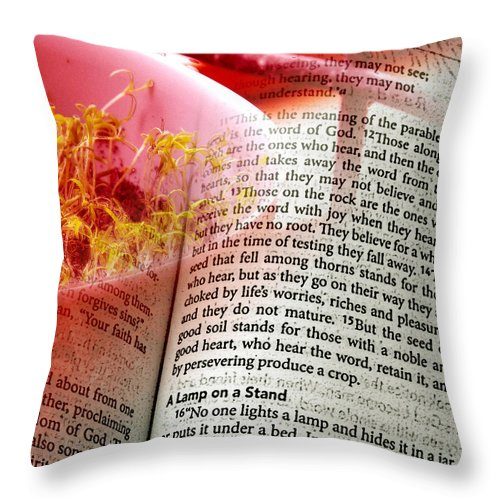ruth Palmer Throw Pillow featuring the digital art The Seed Is The Word Of God by Ruth Palmer