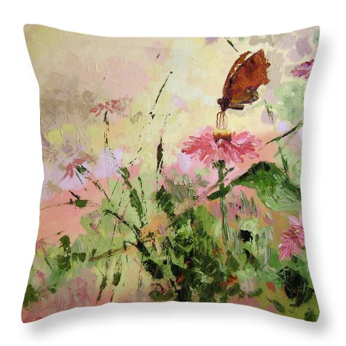 Butterflies Throw Pillow featuring the painting The Seeker by Ginger Concepcion