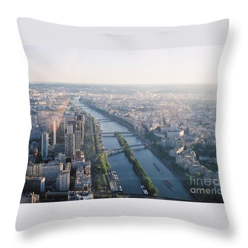 City Throw Pillow featuring the photograph The Seine River In Paris by Nadine Rippelmeyer