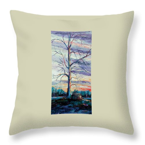 Lone Tree Throw Pillow featuring the painting The Sentinel by Ginger Concepcion