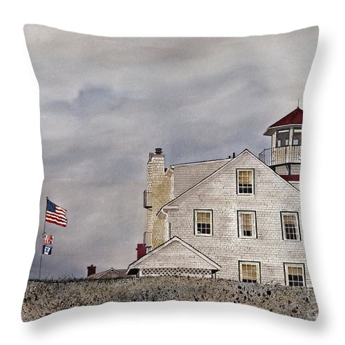 The Coast Guard Station At Point Judith Throw Pillow featuring the painting The Sentinel by Monte Toon