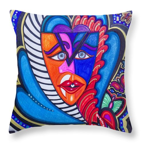 Abstract Throw Pillow featuring the painting The Serpent Within by Laurel Rosenberg