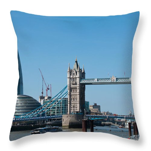 2012 Throw Pillow featuring the photograph The Shard With Tower Bridge by Andrew Michael