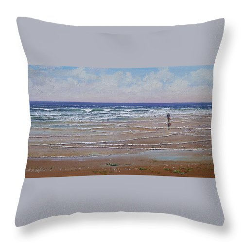 Seascape Throw Pillow featuring the painting The Shell Collector by Frank Wilson
