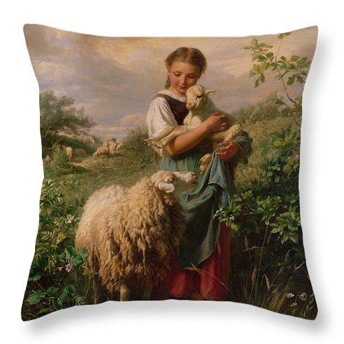 Shepherdess Throw Pillow featuring the painting The Shepherdess by Johann Baptist Hofner