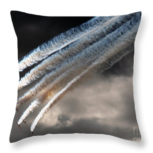Red Arrows Throw Pillow featuring the photograph The Shinig Diamond by Angel Ciesniarska