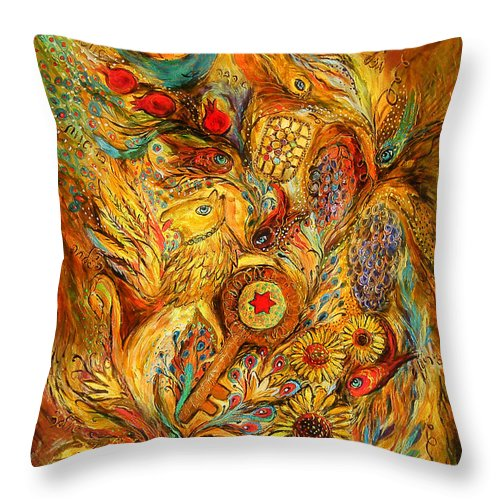 Original Throw Pillow featuring the painting The Shining Of Gold by Elena Kotliarker