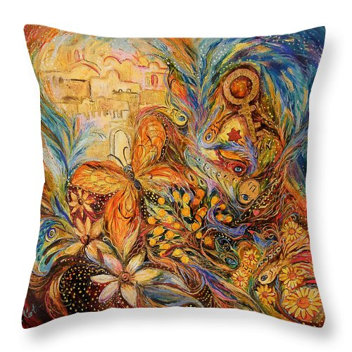 Original Throw Pillow featuring the painting The Shining Of Jerusalem by Elena Kotliarker