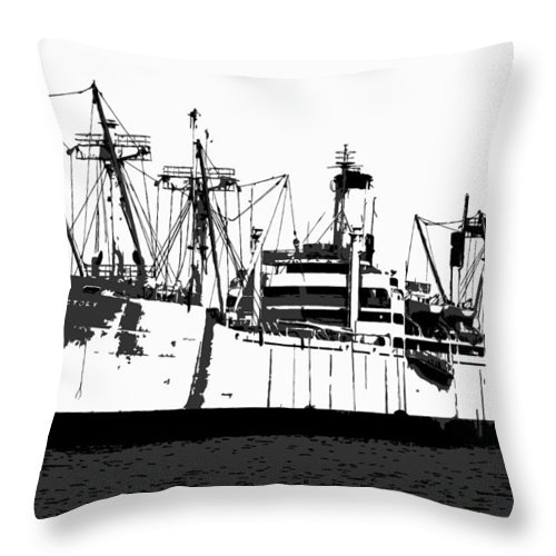 American Victory Ship Throw Pillow featuring the painting The Ship by David Lee Thompson