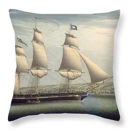 Robert Salmon Throw Pillow featuring the painting The Ship -favorite-maneuvering Off Greenock by Robert Salmon