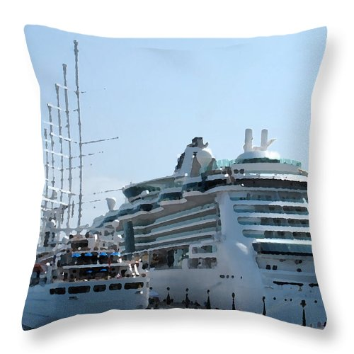 Wind Song Throw Pillow featuring the photograph The Ships Are In by Ian MacDonald