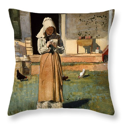 The Sick Chicken Throw Pillow featuring the painting The Sick Chicken by Celestial Images