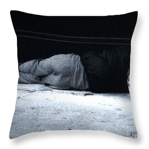 Homeless Throw Pillow featuring the photograph The Sidewalks Of New York by RC deWinter