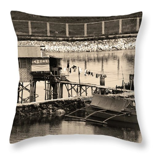 Tropical Throw Pillow featuring the photograph The Simple Life In Living Sepia by James BO Insogna