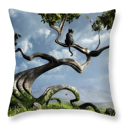 Whimsical Throw Pillow featuring the digital art The Sitting Tree by Cynthia Decker