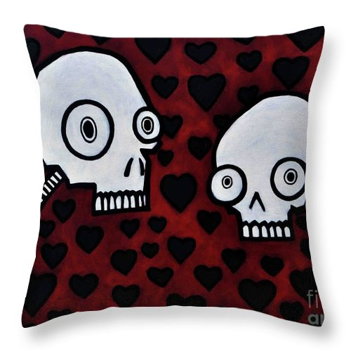 Skull Lovers Throw Pillow featuring the painting The Skullers by Thomas Valentine