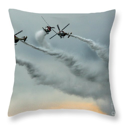 Indische Luftwaffe Throw Pillow featuring the photograph The Sky Ballet by Angel Ciesniarska