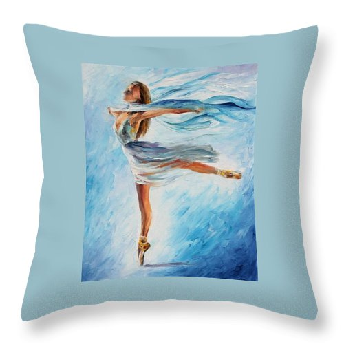 Afremov Throw Pillow featuring the painting The Sky Dance by Leonid Afremov