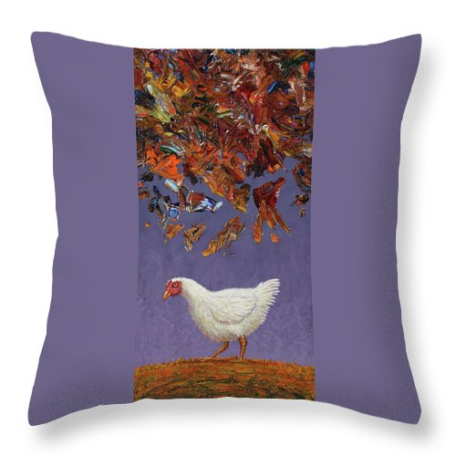 Chicken Little Throw Pillow featuring the painting The Sky Is Falling by James W Johnson