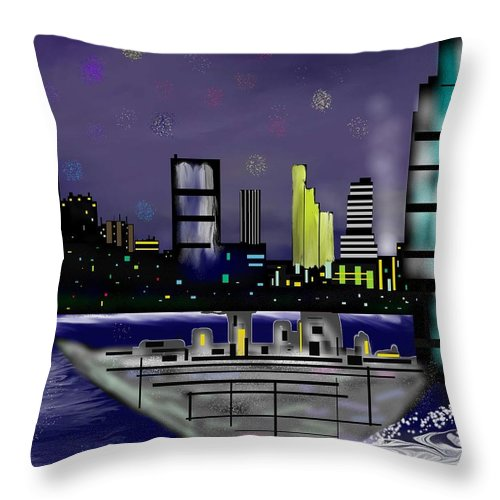 Cityscapes Throw Pillow featuring the digital art The Sky Is The Limit by Abel Padilla