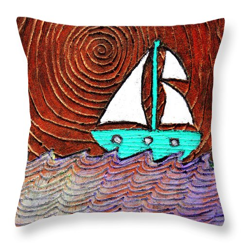 Sailing Throw Pillow featuring the painting The Sky Was Bronze That Night by Wayne Potrafka