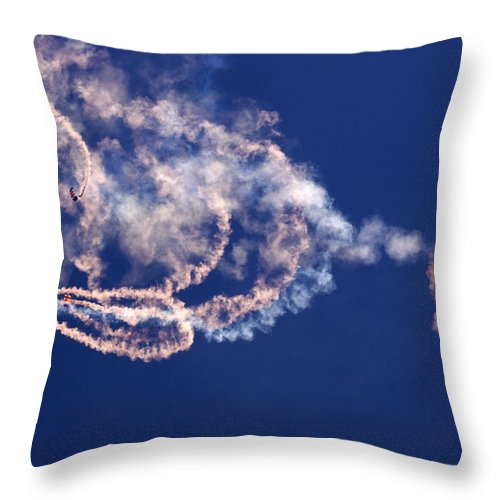 Raf Falcons Throw Pillow featuring the photograph The Sky Watercolor by Angel Ciesniarska