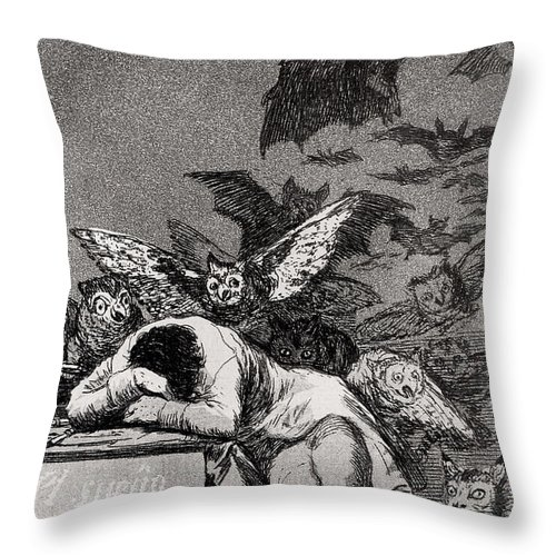 Goya Throw Pillow featuring the drawing The Sleep of Reason Produces Monsters by Goya