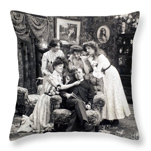 1902 Throw Pillow featuring the photograph The Sleepy Lover, 1902 by Granger
