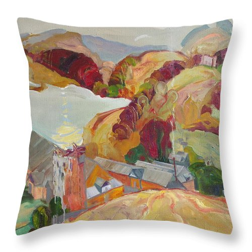 Oil Throw Pillow featuring the painting The Slovechansk Edge by Sergey Ignatenko