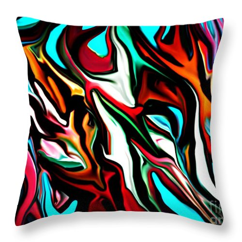 Abstract Throw Pillow featuring the digital art The Smearing Of The Paint 7-02-09 by David Lane