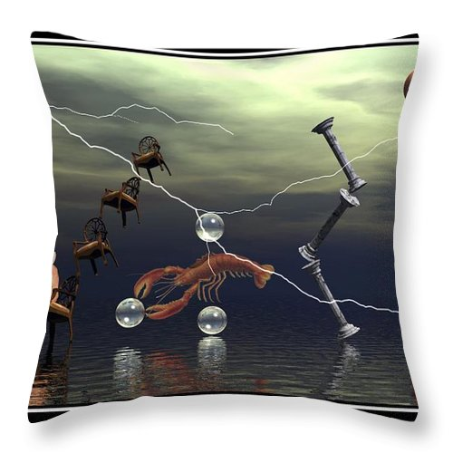 Surreal Art Digital Art Composition Best Picture Canvas Art Eggs Lightning Lobster Water Chairs Columns William Ballester Art Surreal Digital Art Throw Pillow featuring the digital art The Smile by William Ballester