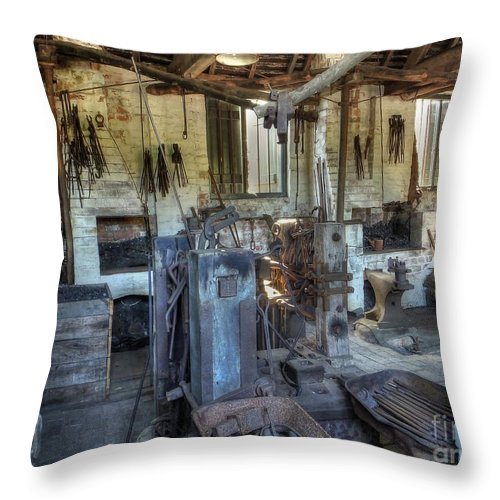 Smithy Throw Pillow featuring the photograph The Smithy by Catchavista