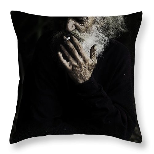 Homeless Male Smoking Smoker Aged Throw Pillow featuring the photograph The Smoker by Sheila Smart Fine Art Photography