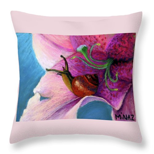 Snail Throw Pillow featuring the painting The Snail's Hideout by Minaz Jantz