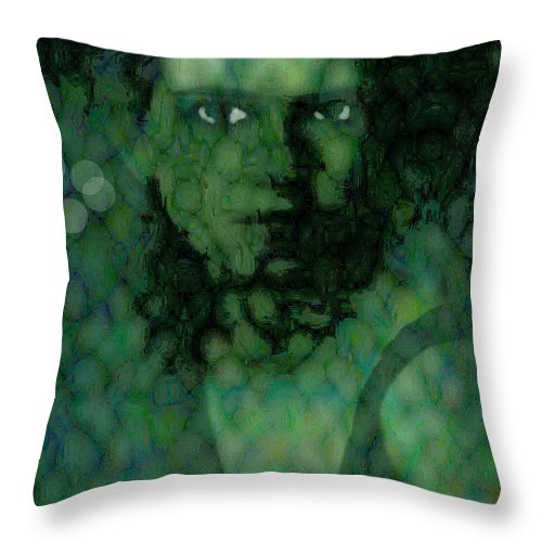 Bizarre Throw Pillow featuring the digital art The Snake Lady by Seth Weaver