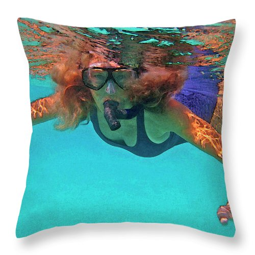 Woman Snorkeling Throw Pillow featuring the photograph The Snorkeler by Bette Phelan