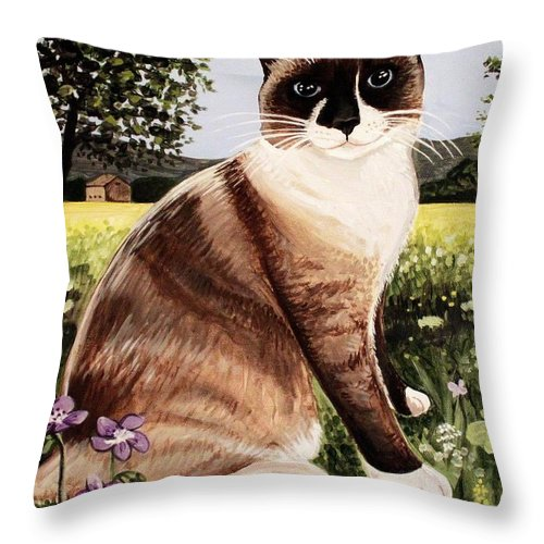 Pet Portrait Throw Pillow featuring the painting The Snowshoe Cat by Elizabeth Robinette Tyndall